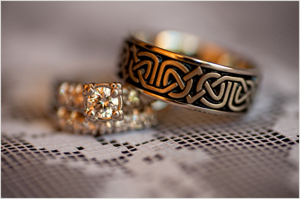 bride and grooms Celtic wedding rings