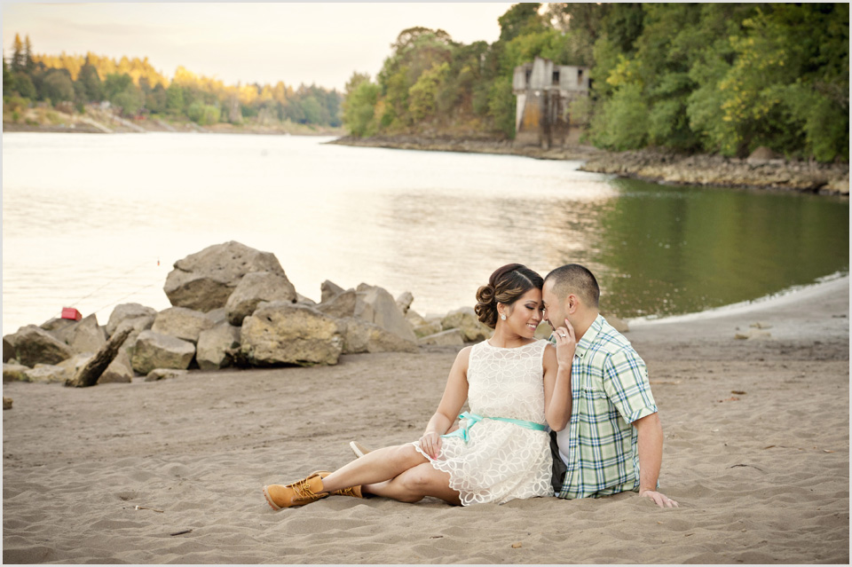 couple on the beach in Lake Oswego during engagement session