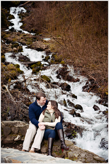 winter engagement session by waterfall